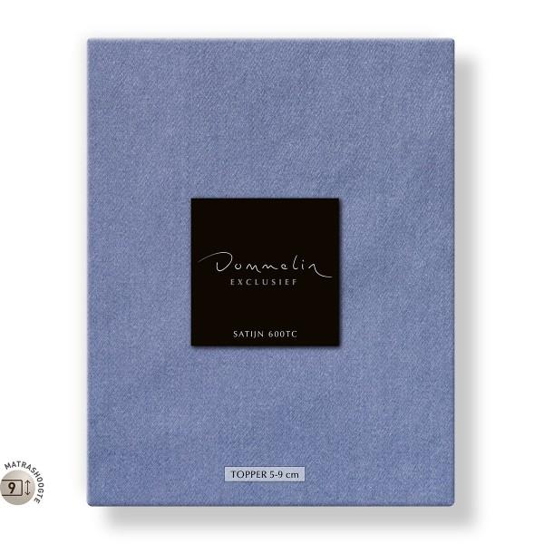 Dommelin Topper Hoeslaken 5-9 cm Satijn 600TC Staalblauw
