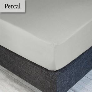 Dommelin Hoeslaken Percal 200TC Ivoor/Lichgrijs 80 x 200 cm