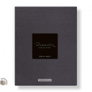 Dommelin Topper Hoeslaken 5-9 cm Percal 400TC Donkergrijs